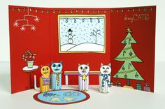 Christmas Holiday Dressy Cats Kids Craft • Made by Joel •