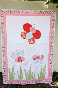 Hand Quilted Butterfly Baby Quilt by downtheroaddesigns on Etsy, $600.00