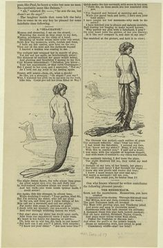 """Image Title:  [Mermaid by the sea ; woman by the sea.] Published Date: 1877 Specific Material Type: Prints Item Physical Description: 1 print : b&w ; 22 x 14 cm. (8 3/4 x 5 1/2 in.) Notes: Written on border: """"Dec. 1887"""" Includes additional text. Original Source: From Harper's magazine. (New York : Harper Brothers, 1850-) . Source: Mid-Manhattan Picture Collection / Costume -- cartoons -- 1800s"""