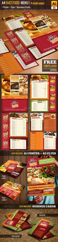 Image Preview A4 Fast Food Menu + Poster + Flyer + Cards (Food Menus)