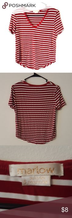Red & White striped Marlow shirt Red & White striped Marlow shirt size small. Marlow Tops