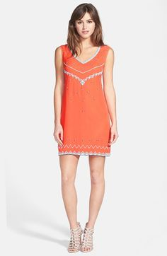 Nicole Miller Beaded Silk Shift Dress available at #Nordstrom