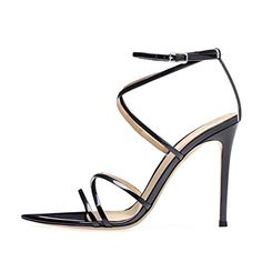259537ab15ab onlymaker Women s Sexy Ankle Strap Gladiator Stilettos Pointed Open Toe High  Heels Sandals Black Size 11