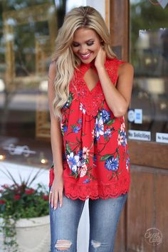Say It With Flowers Top - Red