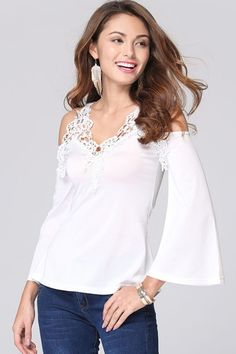 Floral Lace Paneled Open Shoulder Stretched Tee - OASAP.com