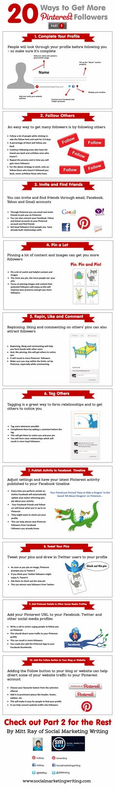 20 Ways to Get More Pinterest Followers Infographic Part 1