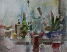 "Saatchi Online Artist Kristine Jansone; Painting, ""still life with rhubarbs"" #art"