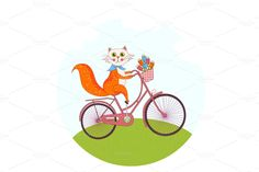 Cat Driving Bicycle
