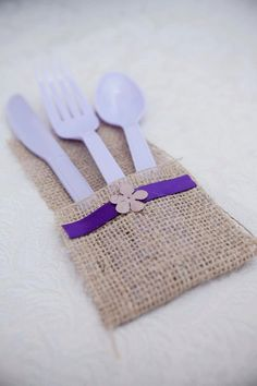 ***except with clear sliverware??    Burlap and purple table settings set of 31 by ThePaintHouse, $20.00  www.etsy.com/shop/thepainthouse