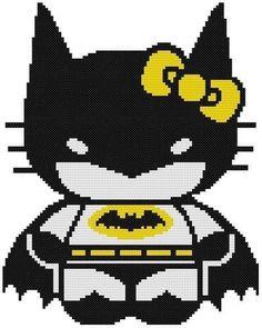 Cross Stitch Knit Crochet Plastic Canvas Waste Canvas Rug Hooking and Bead Work Pattern Hello Kitty is Batman!  https://www.pinterest.com/resparkled/