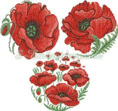 SKU 10099 Cross stitch poppy flower embroidery set