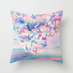 Tranquil Birds throw pillow by Nikkistrange at Society 6