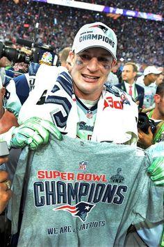 New England Patriots are Super Bowl XLIX Champions; New England Patriots Football, Patriots Fans, Gronk Patriots, Go Pats, Superbowl Champions, Julian Edelman, Rob Gronkowski, Boston Sports, Boston Strong