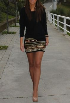 sequined skirt balanced with all-black top
