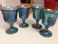 Carnival Glass Goblets Set of 4 Blue Green Iridescent by thetrendykitchen on Etsy