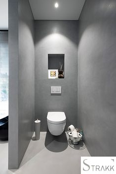 New Bathroom Mirror Round Toilets Ideas Small Bathroom With Shower, Small Space Bathroom, White Vanity Bathroom, Bathroom Design Small, Small Toilet, New Toilet, Guest Toilet, Wallpaper Accent Wall Bathroom, Bathroom Wall