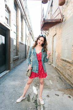 Q2 PLAYLIST + Spring Weekend Wear (a perfect formula to follow!), spring outfit, spring outfits, red dress, ruffle dress, jean jacket, jean jacket outfit, spring outfits women, red dress outfit, jean jackets outfits spring, white sneakers, white sneakesr outfit, white sneakers outfit spring, white sneakers women