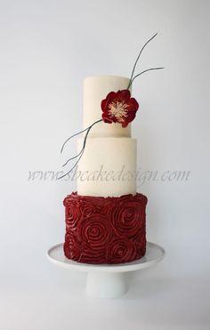 Rose Red Buttercream Wedding Cake - Cake by Shannon Bond Cake Design