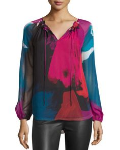 DIANE VON FURSTENBERG Saylor Abstract-Printed Peasant Blouse, Virtuoso Amethyst. #dianevonfurstenberg #cloth #