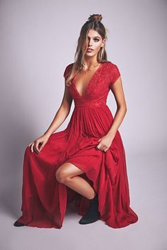 Briar Rose Maxi   Free People Beautiful cap sleeve maxi dress featuring delicate lace detailing along the bodice.