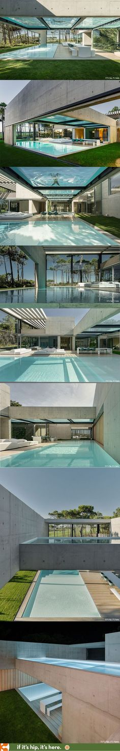 I challenge you to find a home with cooler swimming pools. See more of this incredible home at Cool Swimming Pools, Cool Pools, Amazing Architecture, Interior Architecture, Pool Houses, House Pools, Bungalows, Pool Designs, Modern House Design