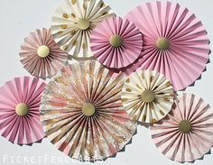 Pink and Gold Paper Rosettes, Paper Fans Backdrop, Wedding Backdrop, Wedding Decor, Bridal Shower, Metallic, Shimmer, Hand Painted Paper