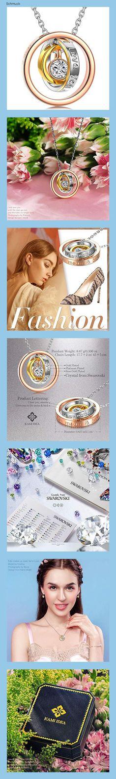 Kami Idea Halskette Damen Mutter Kette Geschenk für Frauen Rosegold Anhänger Kristalle von Swarovski Weihnachten Schmuck Geschenkbox Kettenlänge - 14h9