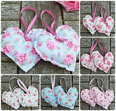 Handmade Fabric Hanging Hearts Set of Two Vintage Wedding Shabby Chic Floral Shabby Chic Crafts, Vintage Shabby Chic, Shabby Chic Decor, Manualidades Shabby Chic, Shabby Chic Accessories, Fabric Hearts, Fabric Bins, Heart Crafts, Hanging Hearts