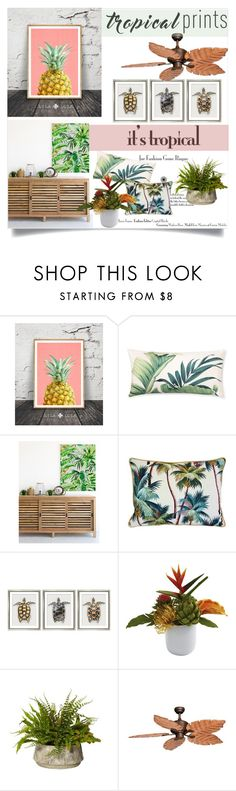"""It's Tropical"" by clotheshawg ❤ liked on Polyvore featuring interior, interiors, interior design, home, home decor, interior decorating, Williams-Sonoma, William Stafford, Vaxcel Lighting and tropicalprints"