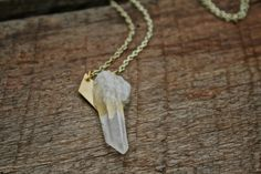 crystal quartz point necklace by stormandstress on Etsy, $34.00