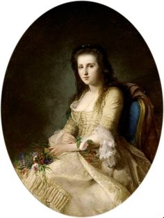 1863 painting of a woman in 18th century dress