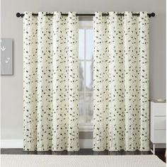 Rose Nature/Floral Semi-Sheer Grommet Single Curtain Panel