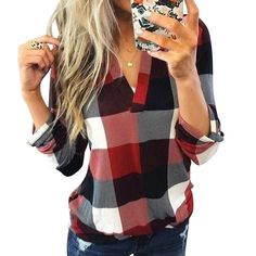 online shopping for lantusi Women Casual Top V-Neck Long Sleeve Plaid Patchwork Pullover Blouse Blouses from top store. See new offer for lantusi Women Casual Top V-Neck Long Sleeve Plaid Patchwork Pullover Blouse Blouses Shirts & Tops, Sexy Shirts, Casual T Shirts, Casual Tops, Shirt Blouses, Women's Tops, Look Casual Chic, Chemises Sexy, Tartan Plaid
