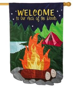 Outdoor camping themed, glitter enhanced,applique house flag featuringabright orange campfire with shiny, orangeglitter to represent the flickering flames. The appliqued and heavily embroidered sc