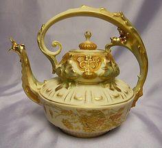 Austrian Teapot by Robert Hanke . Fancy Sculpted Bird Spout Gilded c1910 1930