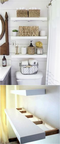 16 easy tutorials on building beautiful floating shelves and wall shelves! Check out all the gorgeous brackets, supports, finishes & design inspirations! - A Piece Of Rainbow diy bathroom decor 16 Easy and Stylish DIY Floating Shelves & Wall Shelves Kitchen Wall Shelves, Floating Wall Shelves, Wall Shelving, Kitchen Storage, Bookshelf Wall, Glass Shelves, Bedroom Wall Shelves, Shelf Nightstand, Bed Shelves