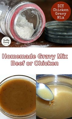 Make these mixes for beef or chicken gravy and always be ready to whip up some homemade gravy at a moments notice. While you can buy gravy in a can, I Homemade Dry Mixes, Homemade Spice Blends, Homemade Spices, Homemade Seasonings, Spice Mixes, Chicken Gravy Mix Recipe, Homemade Chicken Gravy, Homade Gravy, Ribe