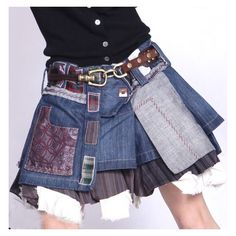 Patchwork jean skirt