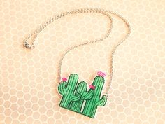 Cute Pink Flowering Cactus Trio Shrink Plastic Necklace with Stainless Steel Hypoallergenic Chain