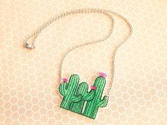 SALE Cute Pink Flowering Cactus Trio Shrink Plastic by ShopNDS