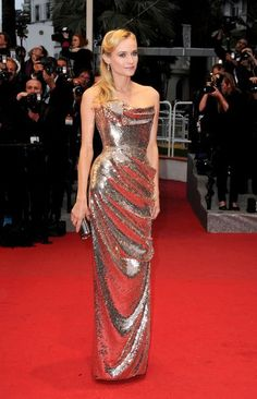 I want everything that Diane Kruger has here. Fabulous hair, great makeup, and one of the most gorgeous dresses I've seen on the red carpet.