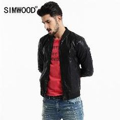 [ 22% OFF ] Simwood Brand Men Clothing Jackets Slim Fit Casual Pu Coat Plus Size