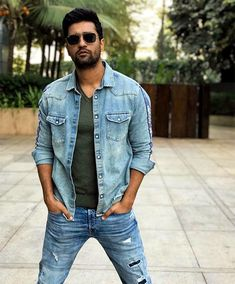 Find me a similar denim jacket like Vicky Kaushal is wearing for the promotions of Uri Handsome Celebrities, Indian Celebrities, Bollywood Actors, Bollywood Celebrities, Denim Button Up, Button Up Shirts, Boy Outfits, Casual Outfits, Indian Gowns Dresses