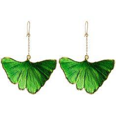 Aurélie Bidermann 18kt Gold Ginkgo Leaf Earrings (13 345 ZAR) ❤ liked on Polyvore featuring jewelry, earrings, green, aurélie bidermann, leaves earrings, gold earrings, gold leaf jewelry and leaves jewelry