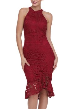 Burgundy Sleeveless Lace Fishtail Bodycon Dress Beautiful Party Dresses fe8a6ef3253