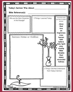 These free printable sermon notes pages include a Sunday morning checklist, spac. - These free printable sermon notes pages include a Sunday morning checklist, space for sermon notes - Bible Activities, Church Activities, Church Games, Bible Games, Lessons For Kids, Bible Lessons, Childrens Sermons, Children Ministry, Youth Ministry