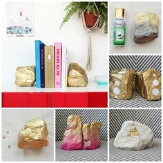{rockin' bookends} spray paint rocks with a metallic color — cover them completely, create patterns, or mix it up with two different hues. #diy #myo #howto