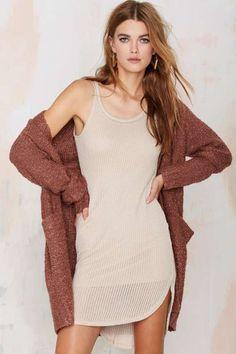 Stella Crochet Tank Dress - Beige - Dresses