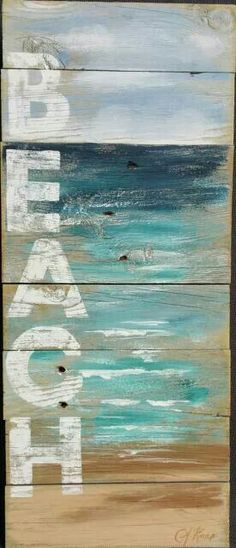 Reclaimed Wood Pallet Art Hand painted seascape with BEACH wording Beach Cottage upcycled Wall art Distressed Shabby Chic 42 Coastal Decor Plage Art Mural, Art Plage, Wood Pallet Art, Wood Art, Diy Wood, Wood Pallets, Pallet Signs, Wall Wood, Woodworking Crafts