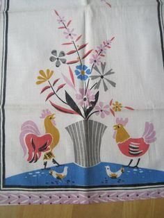 Vintage Flower Towel Chickens
